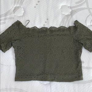Hollister olive green crop top